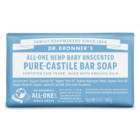 Dr Bronners Castile Bar Soap Unscented 140g