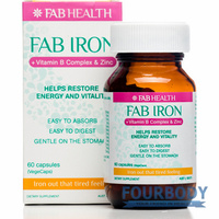 FAB Iron & B Complex with Zinc 60 vcaps