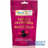 Noosa Natural Chocolate Co. Cranberries in Dark Choc 125g