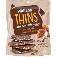 Wallaby Thins Dark Chocolate Almond 130g