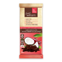 Sweet William Dark Choc, Cherry & Coconut 96% Less Sugar 100g