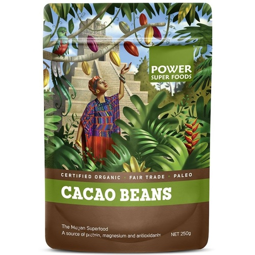 Power Super Foods Cacao Beans Raw Organic 125g